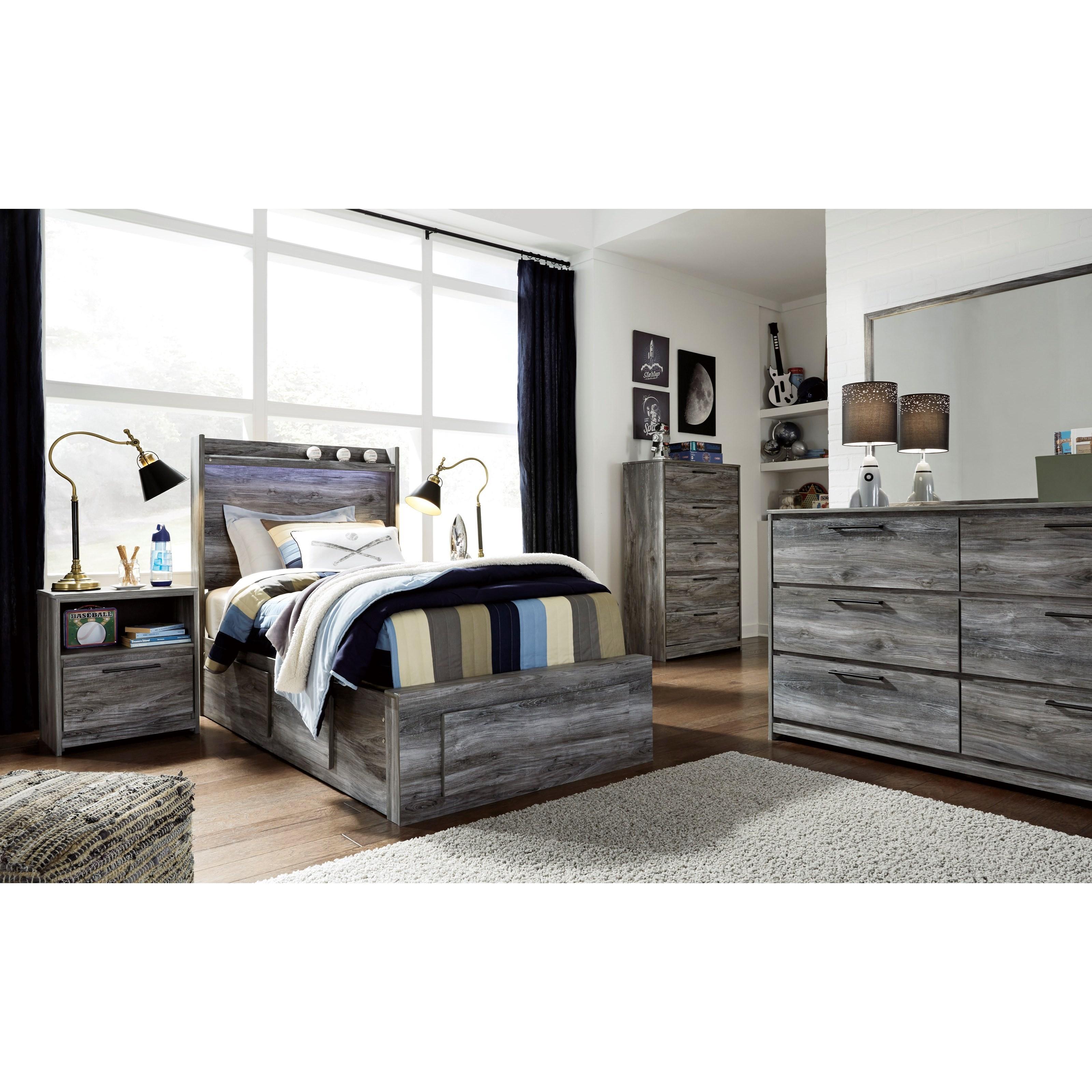 Baystorm Full Size Storage Bed B221: Signature Design By Ashley Baystorm B221-52S+2x50+53+B100