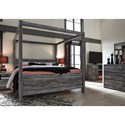 Signature Design by Ashley Baystorm King Canopy Bed in Gray Finish