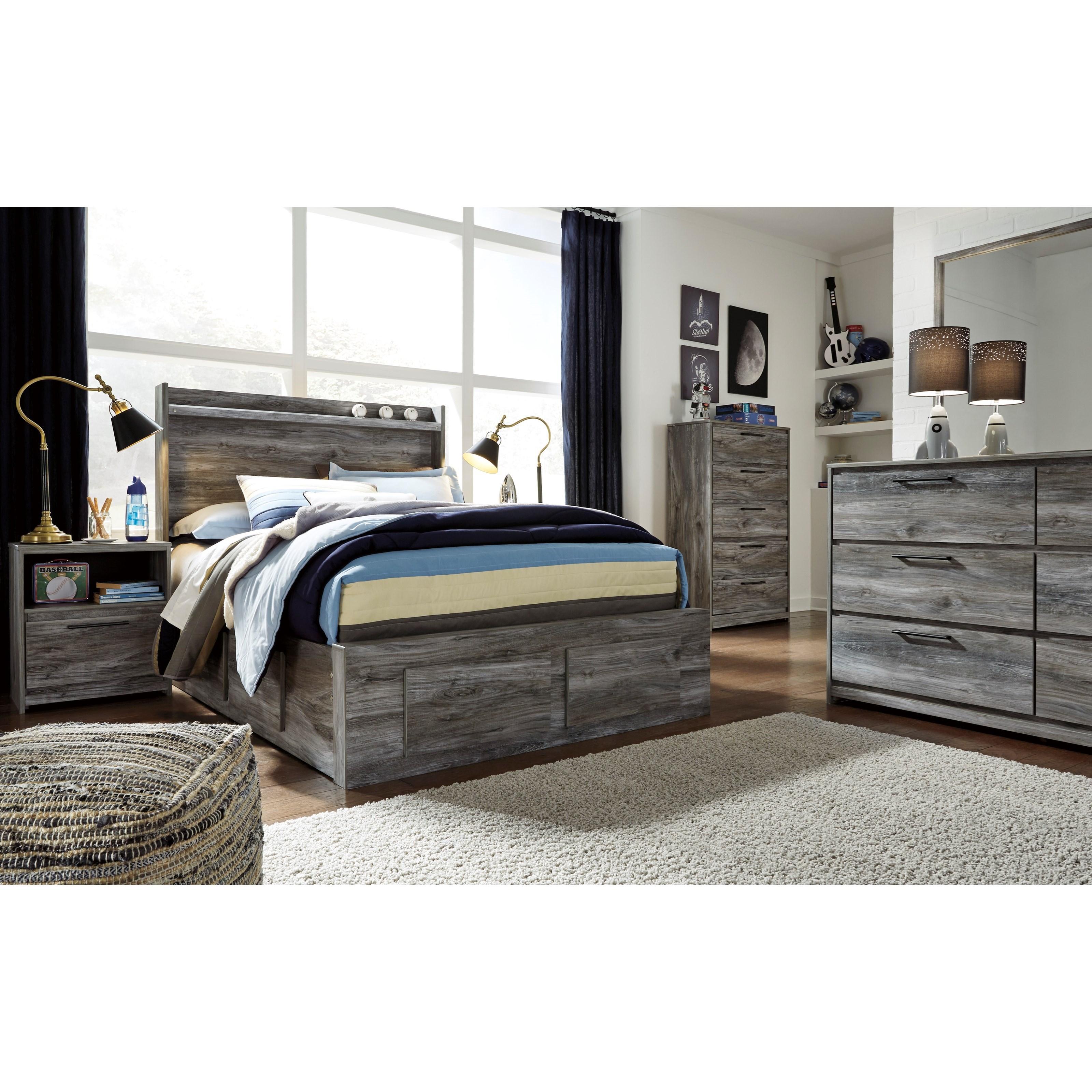 Baystorm Full Size Storage Bed B221: Ashley Signature Design Baystorm B221-84S+87+2x50+B100-12