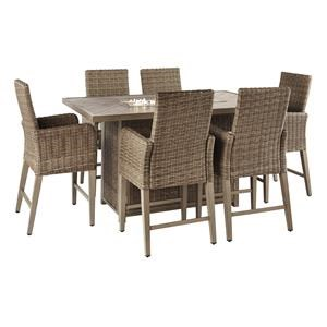 light brown outdoor dining set
