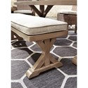 Signature Design by Ashley Beachcroft Double Pedestal Bench with Cushion