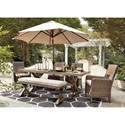 Signature Design by Ashley Beachcroft 6 Piece Outdoor Dining Set - Umbrella Sold Separately