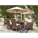 Signature Design by Ashley Beachcroft 7 Piece Outdoor Dining Set - Umbrella Sold Separately