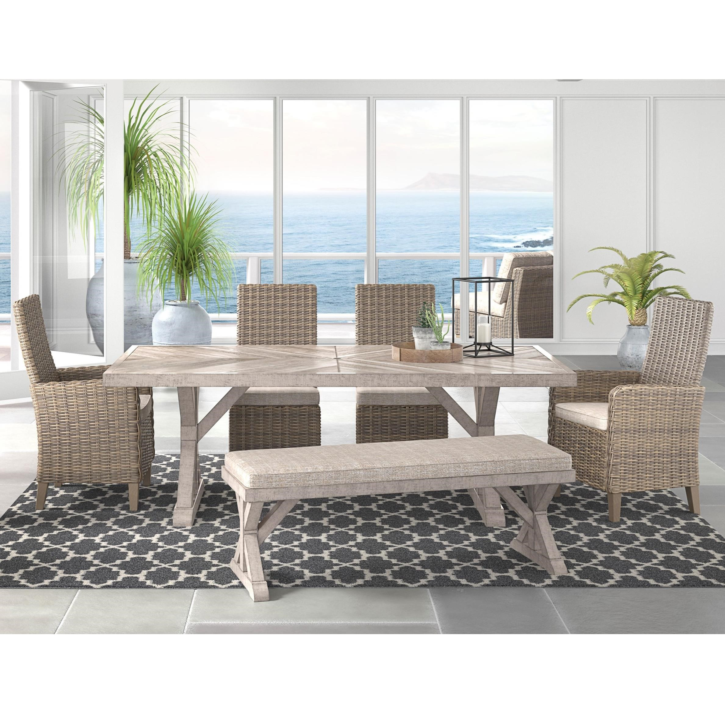 Ashley (Signature Design) Beachcroft 6 Piece Outdoor Dining Set - Item Number: P791-625+600+601+601A