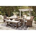 Signature Design by Ashley Bethany 6 Piece Outdoor Dining Set - Item Number: P791-625+600+601+601A