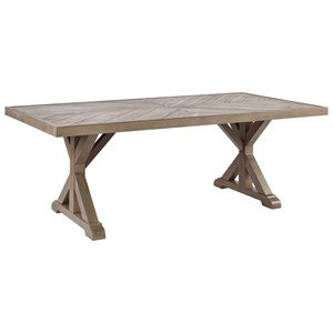 Signature Design by Ashley Beachcroft Rectangular Dining Table w/ Umbrella Option