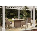 Signature Design by Ashley Beachcroft 5 Piece Outdoor Bar Fire Pit Table Set