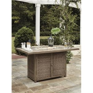 Rectangular Bar Table with Fire Pit