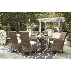 7 Piece Outdoor Bar Fire Pit Table Set