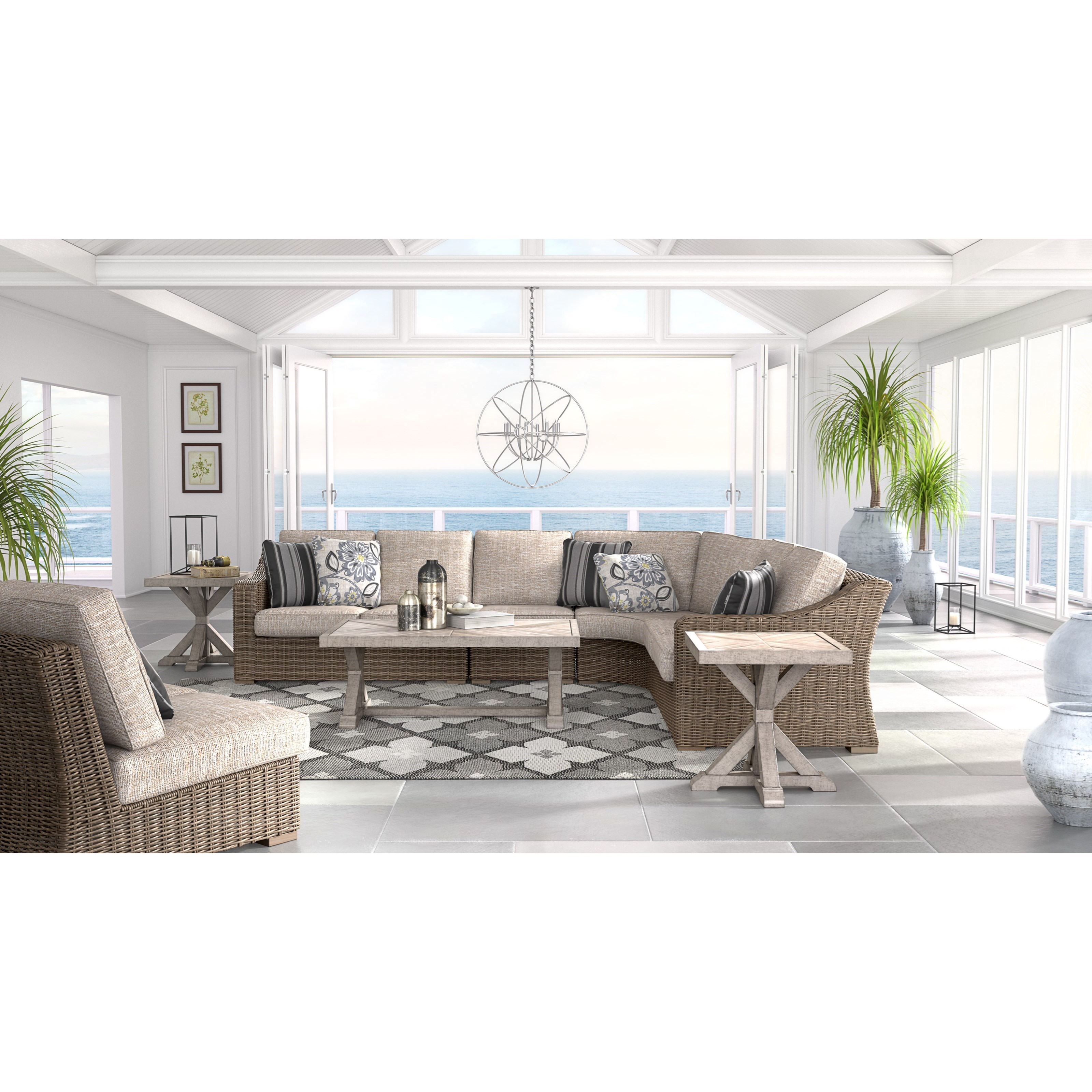 Ashley (Signature Design) Beachcroft Outdoor Conversation Set - Item Number: P791-854+2x846+851+2x702+701