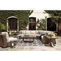 Signature Design by Ashley Beachcroft Outdoor Conversation Set - Item Number: P791-854+2x846+851+2x702+701