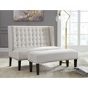Signature Design by Ashley Beauland Oatmeal Fabric Settee and Bench with Nailhead Trim
