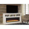 Signature Design by Ashley Becklyn Relaxed Vintage TV Stand with 3 Shelves and Fireplace
