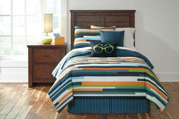 Signature Design by Ashley Bedding Sets Twin Seventy Stripe Top of Bed Set - Item Number: Q114001T