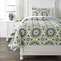 Ashley (Signature Design) Bedding Sets Twin Danesha Blue/Green Coverlet Set - Item Number: Q229001T
