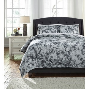 Signature Design by Ashley Bedding Sets Queen Darra Gray Duvet Cover Set