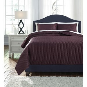 Signature Design by Ashley Bedding Sets Queen Dietrick Plum Quilt Set
