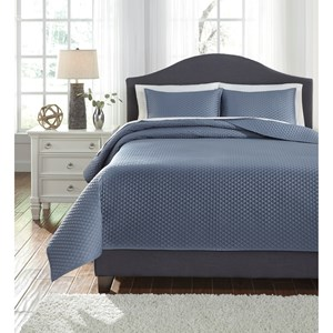 Signature Design by Ashley Bedding Sets Queen Dietrick Blue Quilt Set