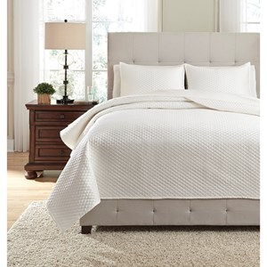 Signature Design by Ashley Bedding Sets Queen Dietrick Ivory Quilt Set