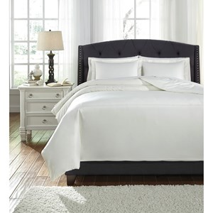 Signature Design by Ashley Bedding Sets Queen Barsheba Ivory Duvet Cover Set