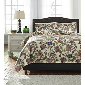 Signature Design by Ashley Bedding Sets Queen Dameka Floral Duvet Cover Set