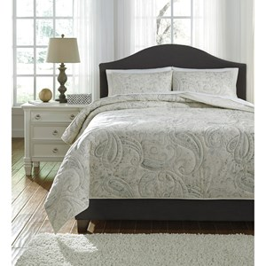 Signature Design by Ashley Bedding Sets Queen Darcila Sage Green/Cream Coverlet Set