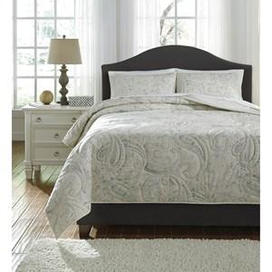 Ashley Signature Design Bedding Sets Queen Darcila Sage Green/Cream Coverlet Set