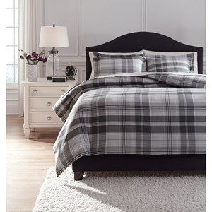 Signature Design by Ashley Bedding Sets Queen Danail Gray Duvet Cover Set
