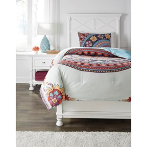 Signature Design by Ashley Bedding Sets Twin Amerigo Pink/Aqua/Orange Comforter Set