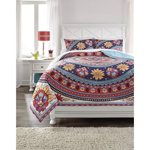Signature Design by Ashley Bedding Sets Full Amerigo Pink/Aqua/Orange Comforter Set