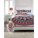 Ashley (Signature Design) Bedding Sets Full Amerigo Pink/Aqua/Orange Comforter Set - Item Number: Q291003F