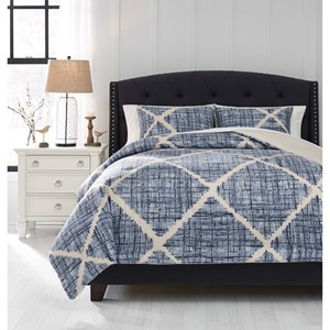 Queen Sladen Blue/Cream Comforter Set