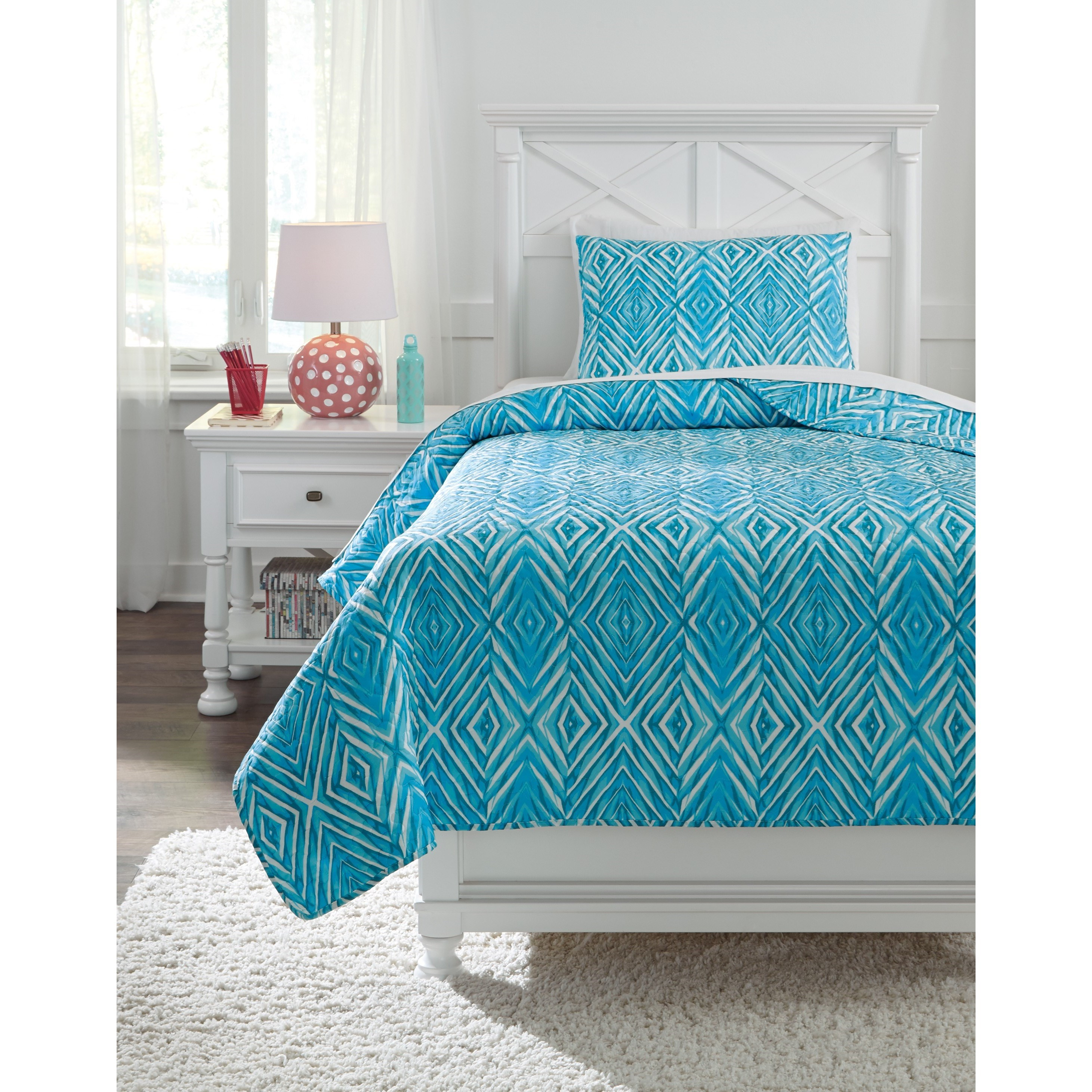 Signature Design by Ashley Bedding Sets Twin Jolana Turquoise Quilt Set - Item Number: Q319001T