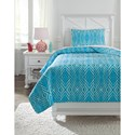 Ashley (Signature Design) Bedding Sets Twin Jolana Turquoise Quilt Set - Item Number: Q319001T