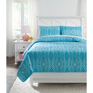 Signature Design by Ashley Bedding Sets Full Jolana Turquoise Quilt Set