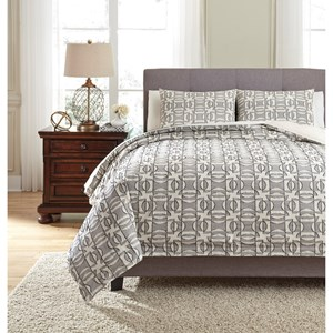 Signature Design by Ashley Bedding Sets Queen Nilay Black/Ivory Duvet Cover Set
