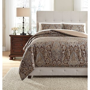 Signature Design by Ashley Bedding Sets King Asali Chocolate/Blue Comforter Set