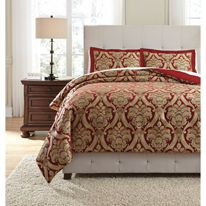 Signature Design by Ashley Bedding Sets Queen Asasia Scarlet Comforter Set