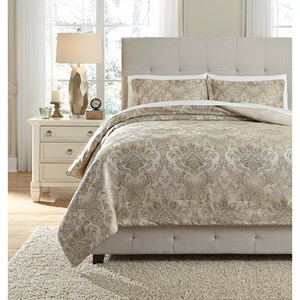 Signature Design by Ashley Bedding Sets Queen Amil Ivory/Gold Comforter Set