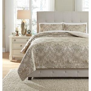 Signature Design by Ashley Bedding Sets King Amil Ivory/Gold Comforter Set
