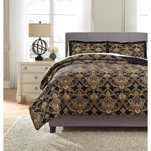 Signature Design by Ashley Bedding Sets Queen Amberlin Onyx/Gold Comforter Set