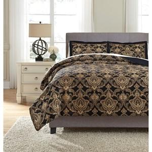 Signature Design by Ashley Bedding Sets King Amberlin Onyx/Gold Comforter Set