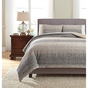 Queen Arturo Natural/Charcoal Duvet Cover Set