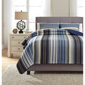 Signature Design by Ashley Bedding Sets King Jayson Navy Blue Quilt Set