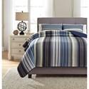 Ashley (Signature Design) Bedding Sets King Jayson Navy Blue Quilt Set - Item Number: Q333003K