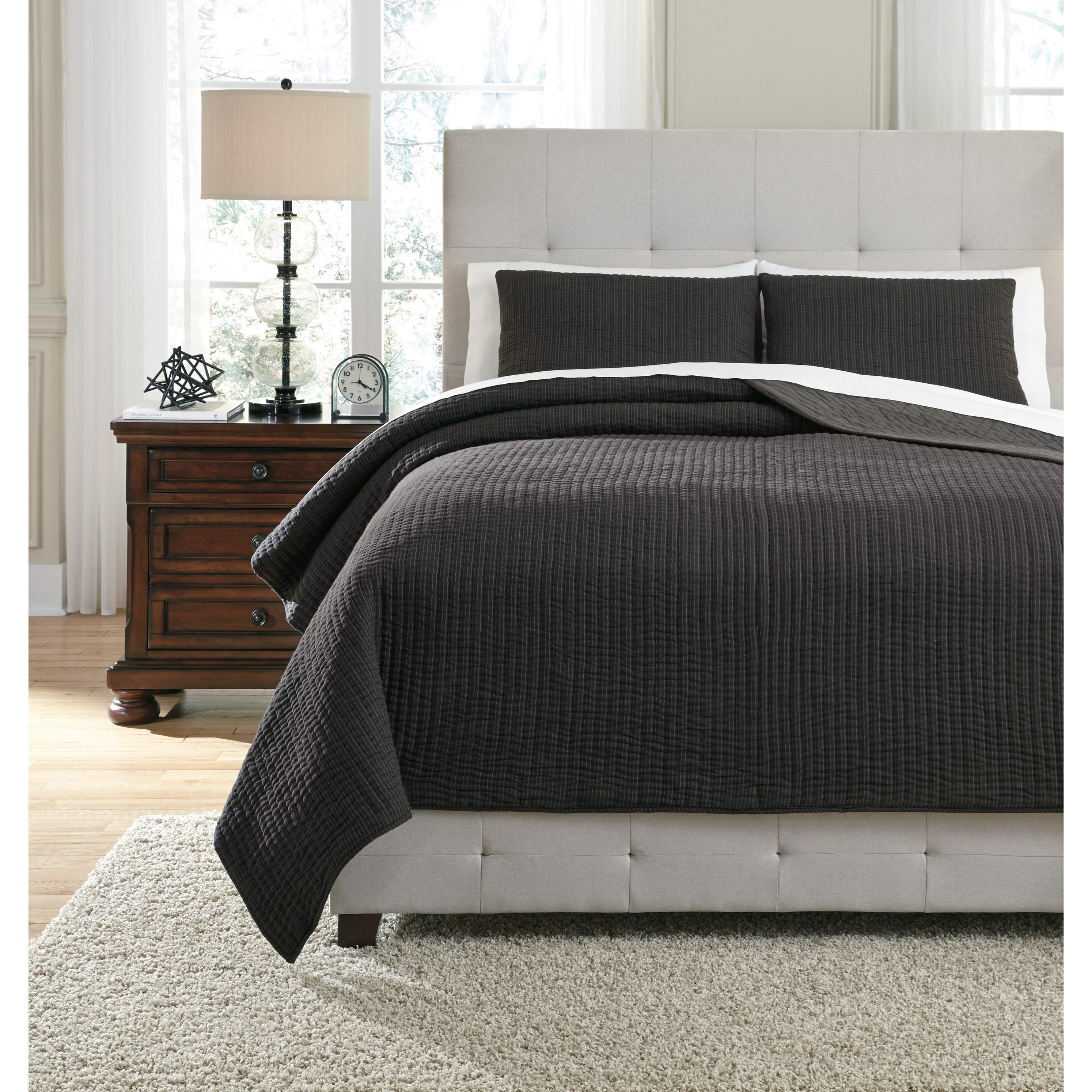Signature Design by Ashley Bedding Sets Queen Bronx Black/Gray Coverlet Set - Item Number: Q336003Q