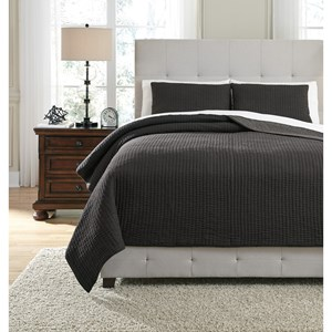 Signature Design by Ashley Bedding Sets King Bronx Black/Gray Coverlet Set