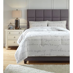 King Adrianna White/Gray Comforter Set