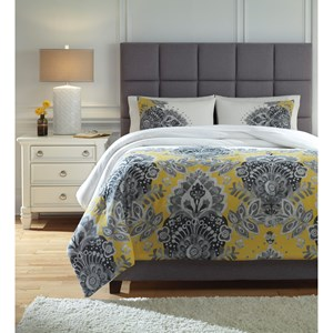 Signature Design by Ashley Bedding Sets Queen Maryland Gray/Yellow Comforter Set