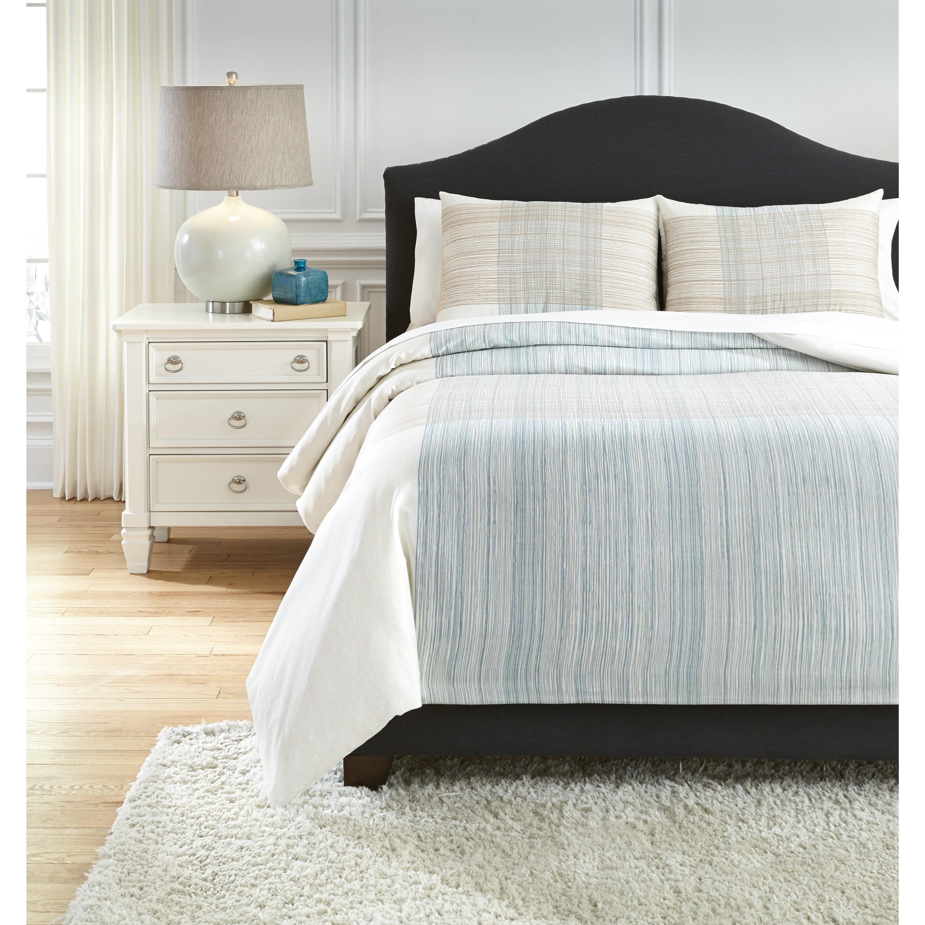Signature Design by Ashley Bedding Sets Queen Jenae Blue/Brown Duvet Cover Set - Item Number: Q346023Q